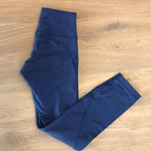 Lululemon navy leggings with mesh cutouts